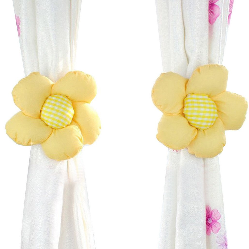 DEHANG Sun Flower Baby Kid Girl Nursery Bedroom Curtain Tieback Tie Back Holder Buckle Hook - Yellow