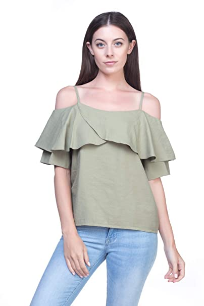 42821feb8200a Reflex Fashionably Ladies Cold Shoulder Top at Amazon Women s Clothing  store