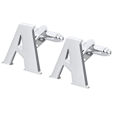 Salutto Men s Letter A Cufflinks 1 Pair with Gift Box A Amazon