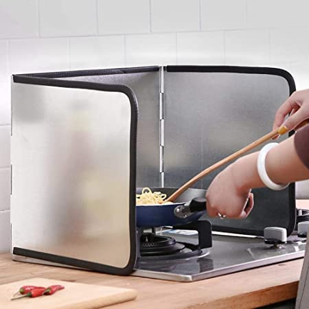 Merssavo 3 Sided Splatter Guard Oil Anti-Splash Sheild Safety Guard Cooking Pan for Kitchen 1