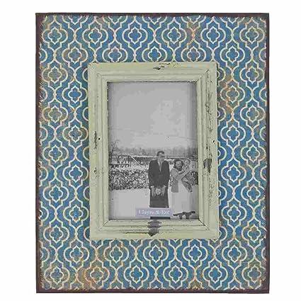 BILDERRAHMEN FOTORAHMEN SHABBY HOLZ  WEIß BLAU ROSA  10 x 15 cm