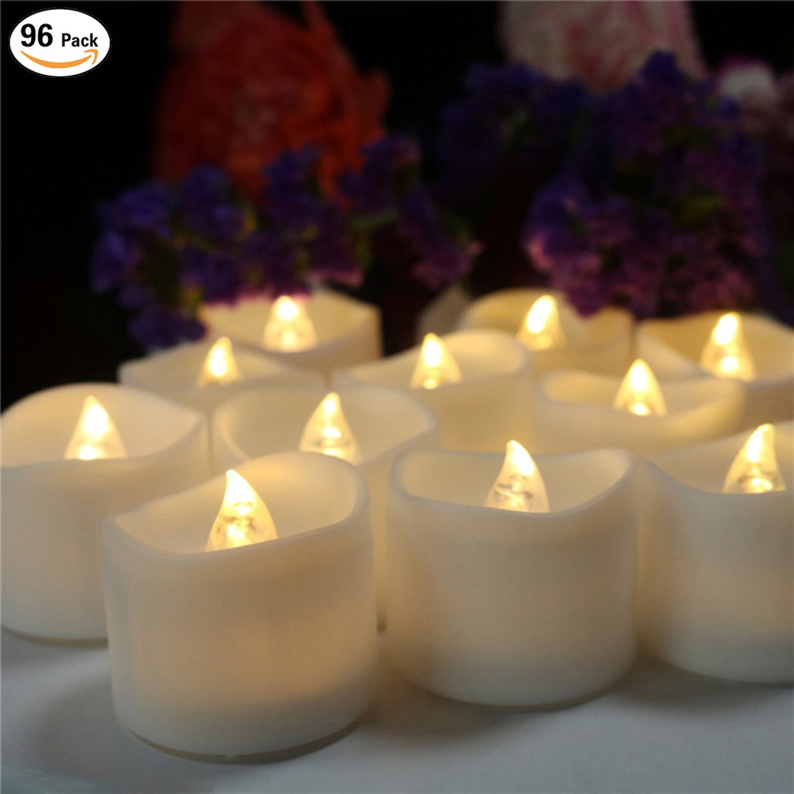 200 Hours Led Mini Tea Light with Timer (6 Hrs On 18 Hrs Off) Flameless Warm White Flickering Fake Votive Candle Wavy Open Rustic Long Lasting Electric Timed Tealights Party Home Wedding Decor 96 PCS by Beauty Collector (Image #1)