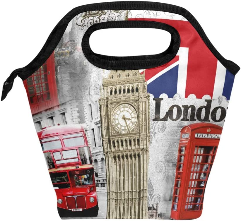 ZZKKO London England Bigben Lunch Bag Box Tote Organizer Lunch Container Insulated Zipper Meal Prep Handbag For Women Men Home School Office Outdoor Use