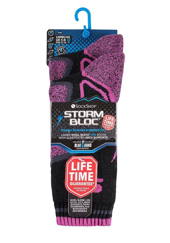 Storm Bloc - 2 pares mujer trabajo senderismo termico invierno calcetines reforzados lana de merino (37-42 eur, SBGLS003CHA): Amazon.es: Ropa y accesorios