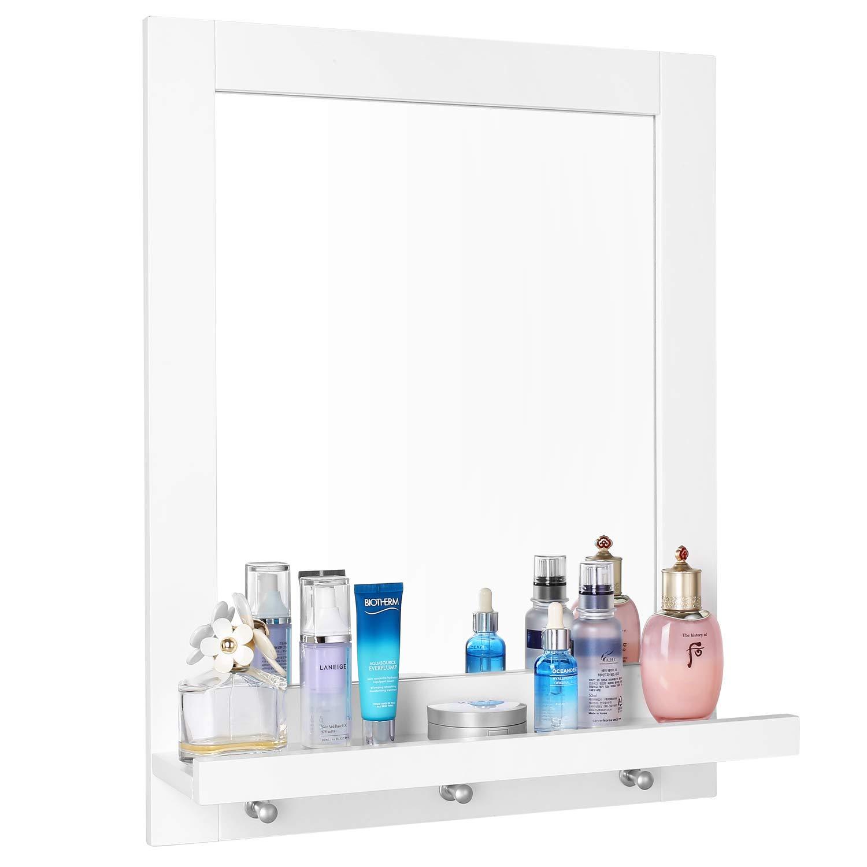 Homfa Specchio Bagno Specchio da Parete con 1/mensola E 3/Ganci Specchio per Bagno Camera da Letto Bianco 47/x 13.5/x 60/cm