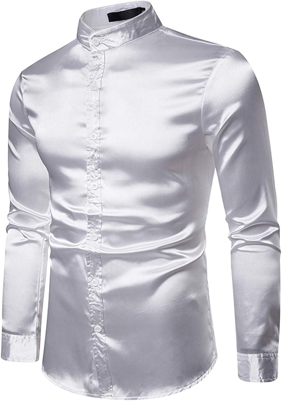 WHATLEES Camisa de satén de manga larga para hombre con cuello alto y ajuste regular.