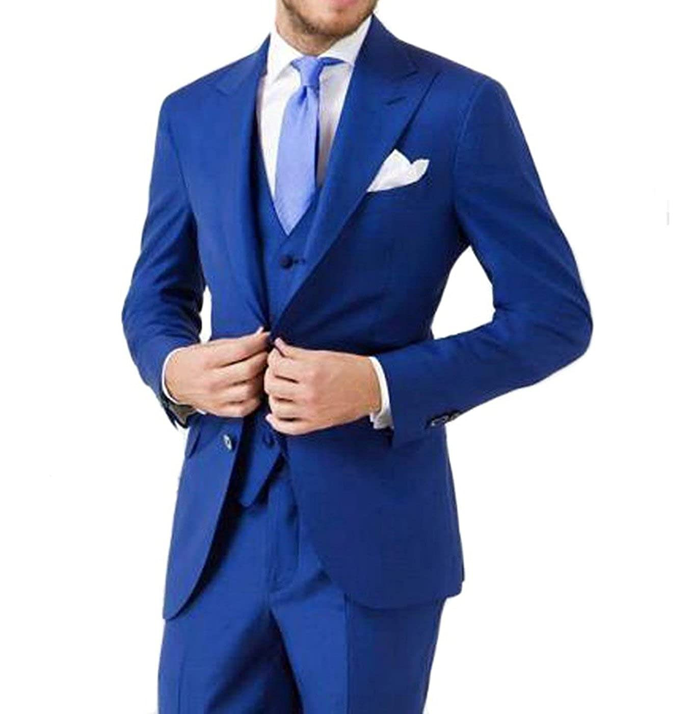 Fitty Lell Mens Suit Royal Blue 3 Piece Wedding Casual Groomsmen Suit
