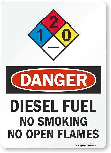Danger Diesel Fuel No Smoking No Open Flames NFPA Label By SmartSign 10 X 14 Laminated Vinyl