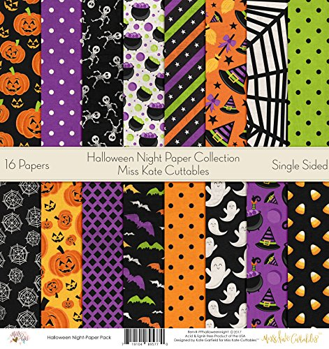 Pattern Paper Pack - Halloween Night - Scrapbook Card Stock Single-Sided 12
