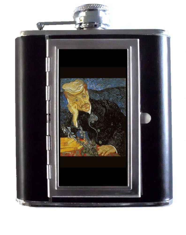 Vincent Van Gogh Portraitの医者ガシェ5ozステンレススチール&レザーヒップフラスコと組み込みシガレットケース   B00O6H2HXG