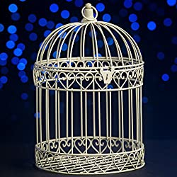 Shindigz Indoor/Outdoor Decorative Bird Cage Latern Centerpiece-Ivory