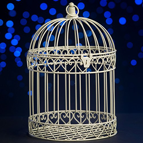 Shindigz Indoor/Outdoor Decorative Bird Cage Latern Centerpiece-Ivory -