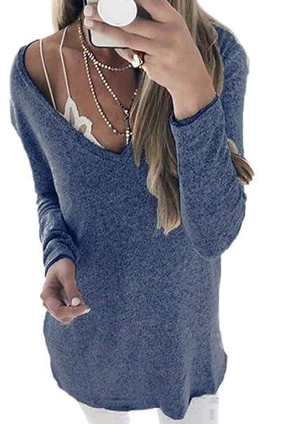 Señoras De Las Mujeres del Invierno V Suelta Hombro Blusa Ropa Más El Suéter del Tamaño del Suéter Top Elegante Suelta Camiseta De Moda Camisetas: ...