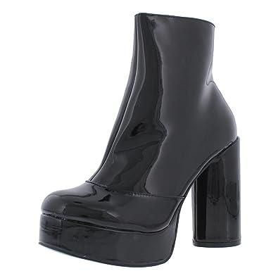 357de1b1019 Steve Madden Womens Bonus Patent Platform Ankle Boots Black 5 Medium ...