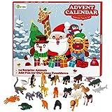 D-FantiX Animal Toys Advent Calendar 2019, Christmas Countdown Calendars 24Pcs Wild Safari Animal Figure Elephant Tiger Giraffe Horse Plastic Animals Playset Xmas Gift for Kids Toddlers