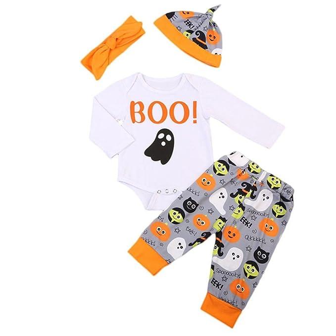 ❤ Tefamore Ropa Bebe Niña Otoño Invierno Halloween Recién Nacido Niña Peleles Manga Larga Monos Mameluco+Pantalones + Sombrero+Diadema, 0-24 Meses Bebé ...