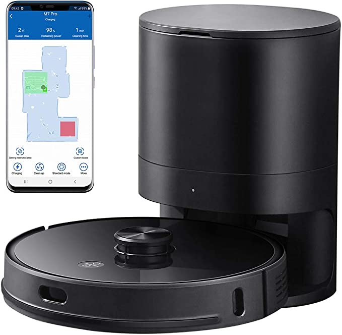 Amazon.com - Proscenic M7 Pro LDS Robot Vacuum Cleaner, Laser Navigation, 2700Pa Powerful Suction, APP & Alexa Control, Multi Mapping, Ideal for Pets Hair, Carpets and Hard Floors, Black -Live viewers eye icon