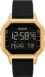 Nixon Womens Siren SS Digital Watch Gold Black Leila Hurst 36mm
