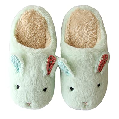 7ccafe720cba Women s Men s Bunny Ear Slippers - Warm Fuzzy Plush Fur Anti-Slip Rabbit  Animal Memory