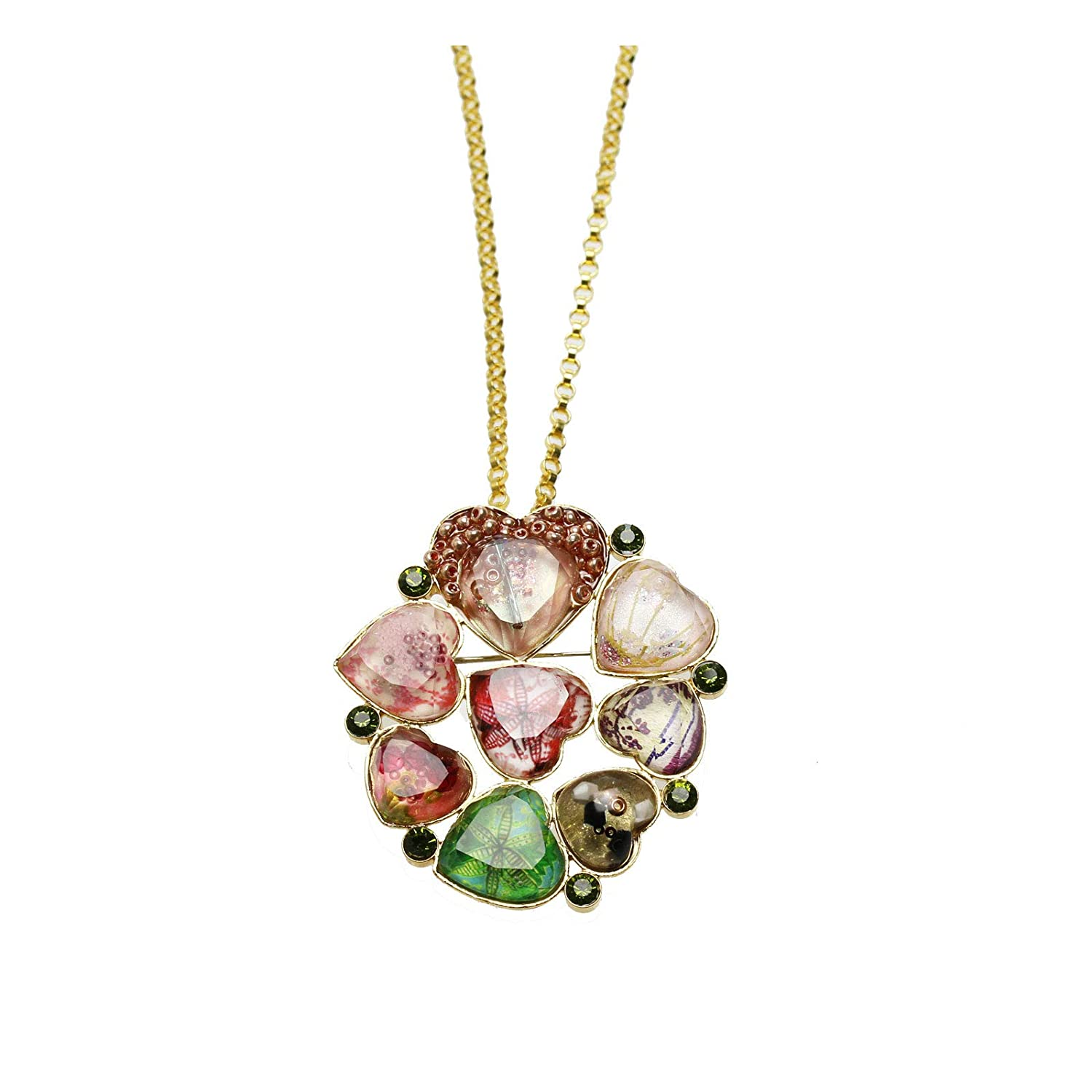 TAMARUSAN Brooch Necklace Gorgeous Pink Green