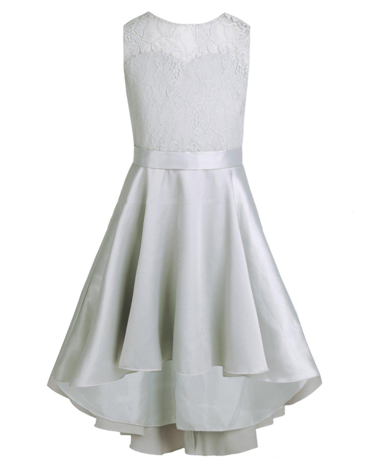 YiZYiF Big Girls Princess Wedding Dance Ball Gown Party V-Back Lace Dress With High Low Hem Gray 12