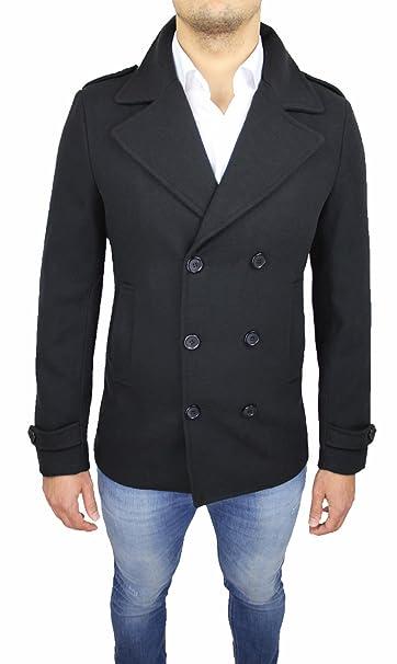 Cappotto Uomo Nero Doppiopetto Casual Elegante Slim Fit Invernale Giaccone  Soprabito  Amazon.it  Abbigliamento 4995fa17c8bd