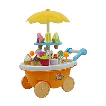 MachinYeser Simulación Carritos pequeños Chica Carro de Caramelo Tienda de Helados Supermercado Carretilla Coche Juguetes para niños con música Ligera ...