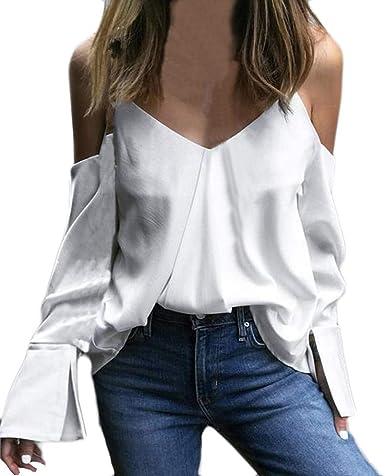 Blusa para Mujer Sexy, Moda Camisa de Manga Larga de Cuello Alto con Cuello en V Camisola para Mujer Blusa Suelta Tops Camisetas niña: Amazon.es: Ropa y accesorios