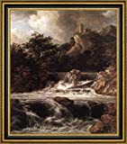 "Waterfall with Castle Built on the Rock by Jacob Van Ruisdael - 21"" x 26"" Framed Canvas Art Print - Ready to Hang"