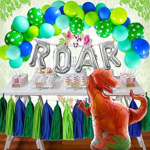 Dinosaur Party Supplies Dino Party Decorations Dinosaur Balloon Large Tyrannosaurus Green Balloons Arch Garland Tissue Paper Tassels Kids Birthday Party Baby Shower ()