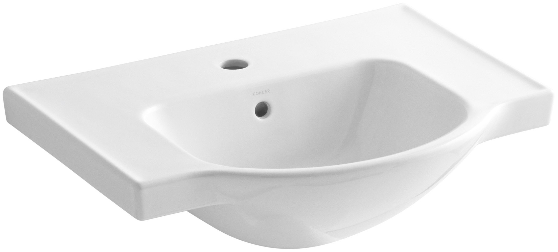 KOHLER K-5248-1-0 Veer Single-Hole Sink Basin, 24-Inch, White