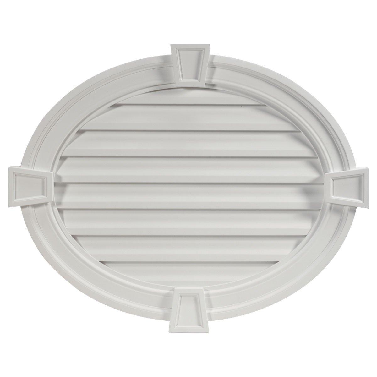 37 1/2''W x 30''H Horizontal Oval Louver, with Decorative Trim and Keystones, Decorative