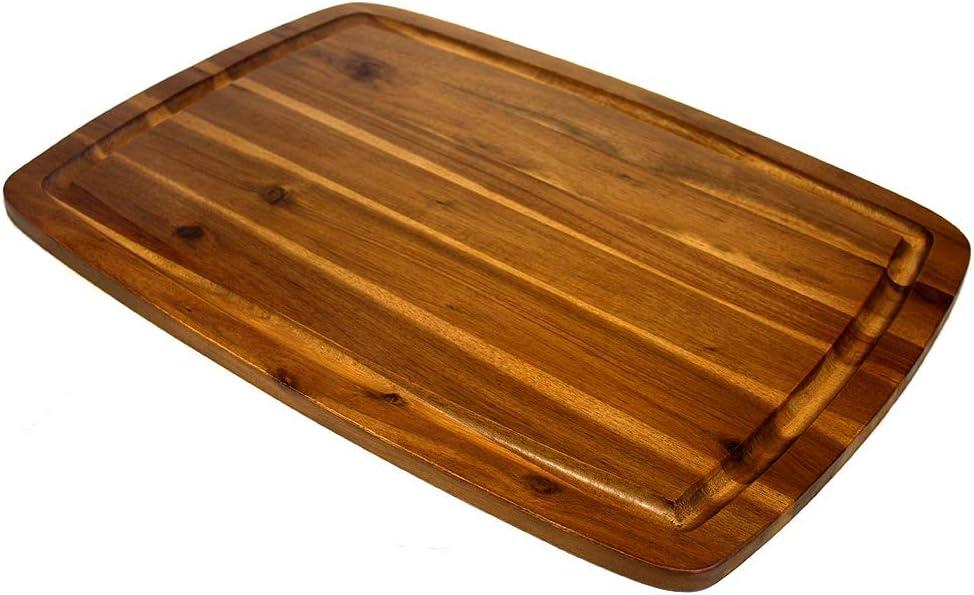 "Mountain Woods Brown Organic Edge-Grain Acacia Wood Cutting Board for Kitchen w/Juice Groove | Chopping Board | Butcher Block - 20"" x 14"" x 0.625"""