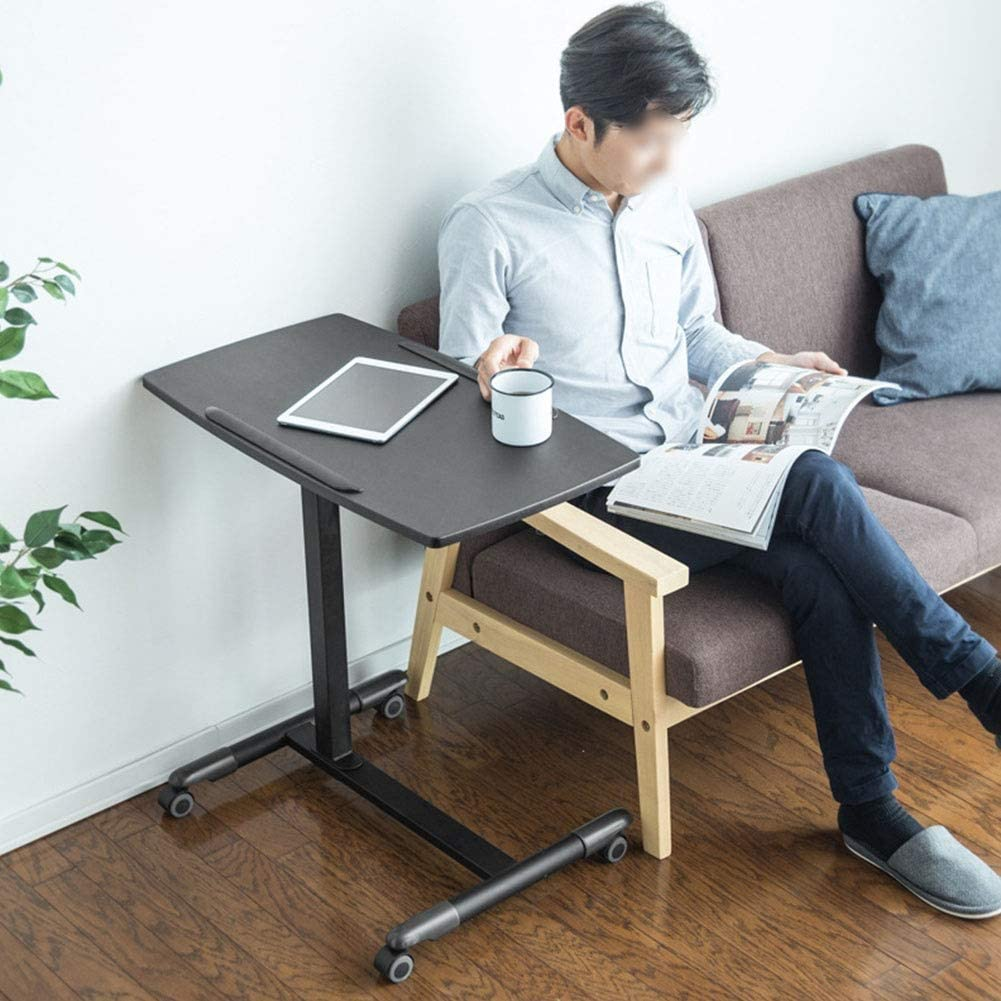 オーバーベッドテーブル、高さ調節可動ベッドサイド、トレイテーブル用の飲食やノートパソコン、モバイルワークステーションノートブックカート、四輪 (Color : A)
