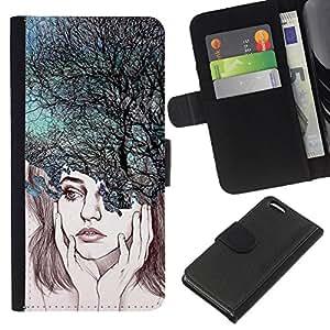A-type (Depression Trees Nature Abstract) Colorida Impresión Funda Cuero Monedero Caja Bolsa Cubierta Caja Piel Card Slots Para Apple iPhone 5C
