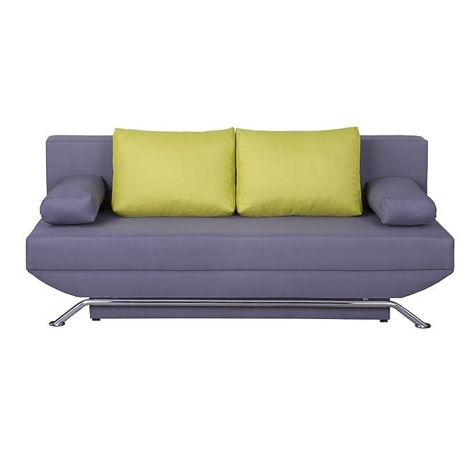 sofá cama sofá LEVI, en color verde cojín, patas de metal ...