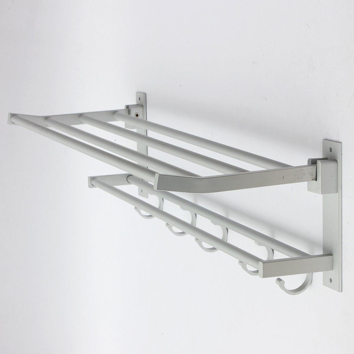 Amazon.com: Towel Hooks Double Rows Silver Wall Mounted Bathroom ...