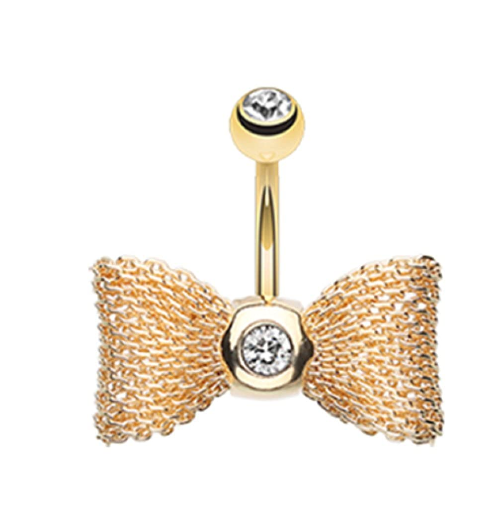 Sold Individually Freedom Fashion Adorable Mesh Bow-Tie Belly 316L Gold Plated Steel Belly Button Ring