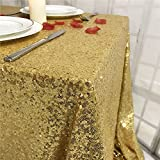 TRLTC 55''X55'' Seamless Gold Sequin Tablecloth Sparkly Shimmer Decoraiton Tablecloth Overlay for Weeding Party