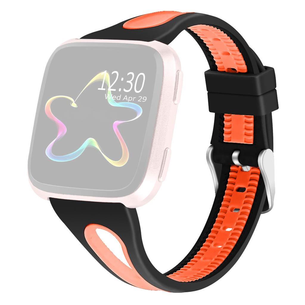 Webla Reloj con correa bicolor para Fitbit Versa Lite perforado en ...