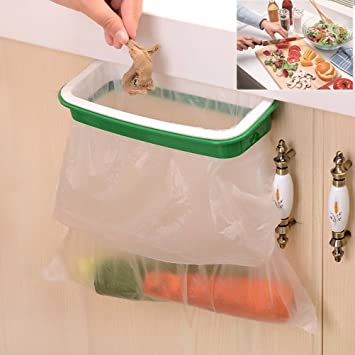 Marvelous Lunies Hanging Trash Garbage Bag Holder For Kitchen Cupboard Green And White