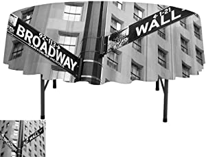 Aishare Store Polyester Fabric Tablecloths, D70 Inch Tablecloth for Restaurant Party, NYC Decor Street Signs of Intersection of Wall Street and Broadway Finance Art Destinations Photo Grey