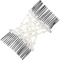Prettyia White Butterfly Pearls Double Hair Comb Clip Stretchy Women Hair Accessories