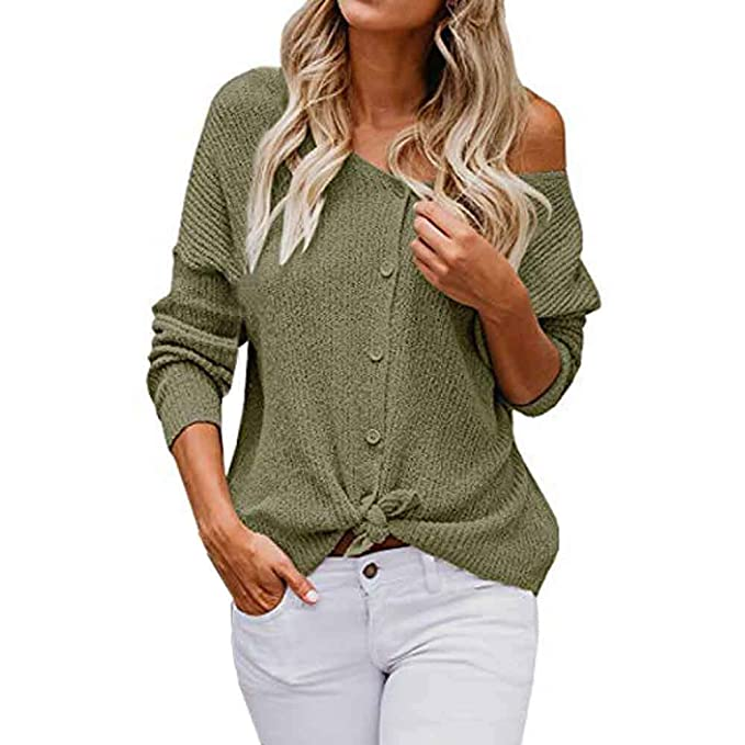 984a35505f9 Luckycat Damen Long Sleeve Off Schulter Pullover Button Down Shirts Tops  Bluse Mode 2018