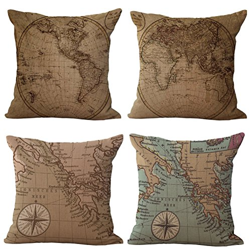 RwalkinZ 4 Packs Retro Vintage Old World Map Pattern Pillow Covers 18 X 18 Square Decorative Throw Pillow Case Cotton Linen Cushion Cover for Home Sofa Bedding Decoration ()