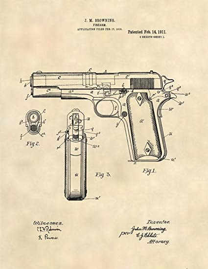Amazon com: Patent Prints - Browning 1911 Pistol Patent Art Gun