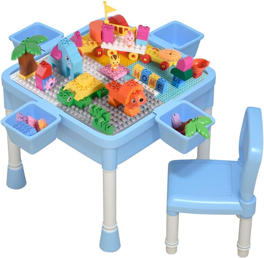 HGFDSA Mesa de Bloques de construcción, fácil instalación de Mesa de Juego de plástico enchufable Mesa de Almacenamiento de Juguetes Mesa Adecuada para niños y niñas de 3 a 10 años,Azul