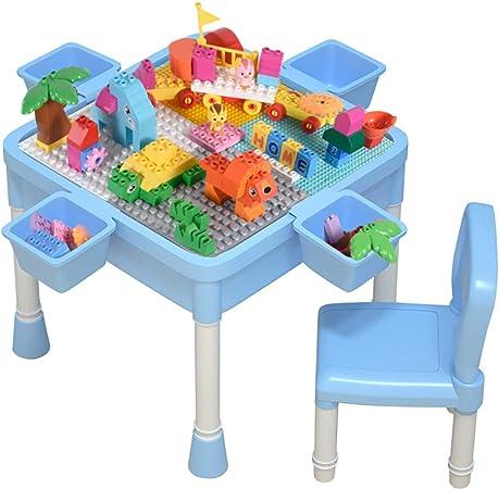 HGFDSA Mesa de Bloques de construcción, fácil instalación de Mesa de Juego de plástico enchufable Mesa de Almacenamiento de Juguetes Mesa Adecuada para niños y niñas de 3 a 10 años,Azul: Amazon.es: