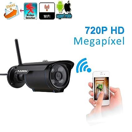 FLOUREON SP007 720P H.264 inalámbrico ONVIF CCTV, Cámara IP, Detección de Movimiento, Visión Nocturna, P2P(Negro)