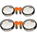 PerfecTech Motorcycle Smoked Turn Signal Lens Bullet Amber Bulb for Harley Davidson 2002-2013